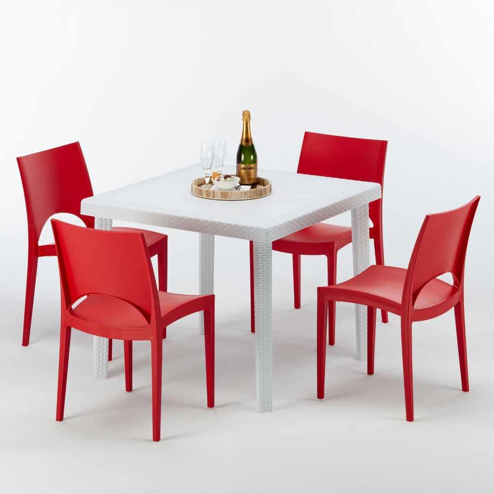 Vierkante salontafel wit 90x90 cm met stalen onderstel en 4 gekleurde stoelen PARIS LOVE