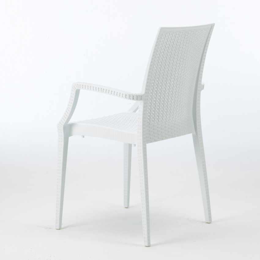 Vierkante salontafel wit 90x90 cm met stalen onderstel en 4 gekleurde stoelen BISTROT ARM LOVE